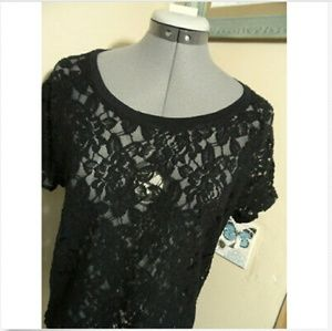 EXPRESS All Lace T-shirt Top S Black dolman sleeve